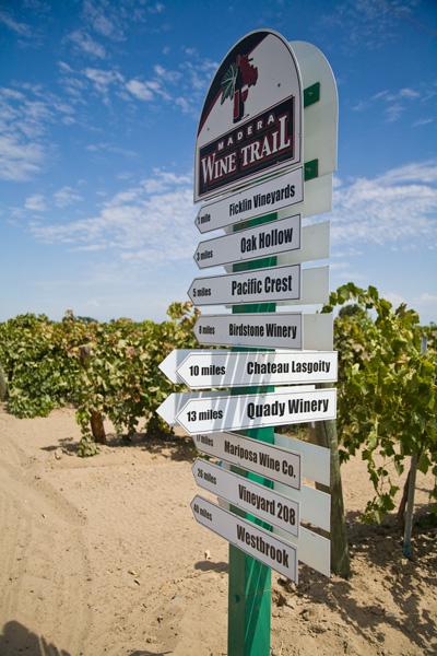 Madera Wine Trail directional sign - courtesy Madera Wine Trail