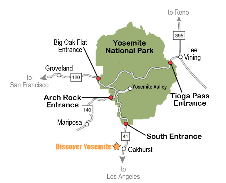 Yosemite Tours: Map to Yosemite on map of chicago, map of new york city, map of los angeles, map of chico, map of mt. shasta, map of sf, map of oakland, map of heathrow, map of seattle, map of sanfransisco, map of raleigh,